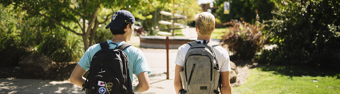 two young men walking down path on campus