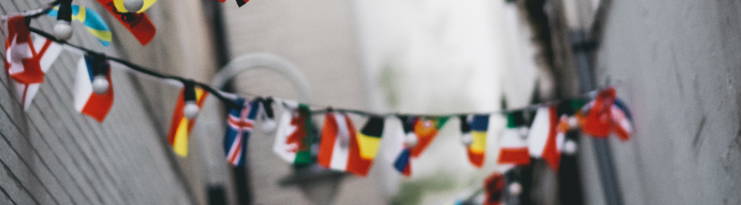 flags of countries around the world hang on string