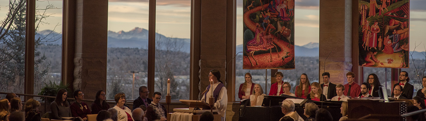 service in the chapel with mountains in the background
