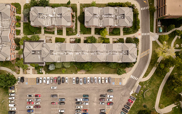 drone shot of parking lot on campus