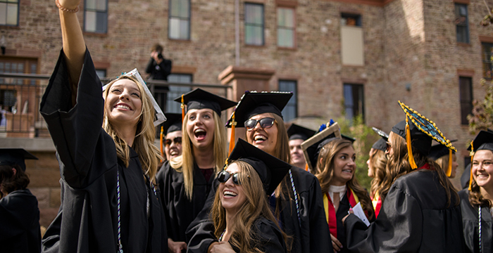 Grads take selfie at commencement