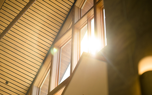sunlight shines through Chapel window