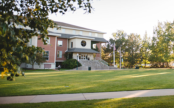 Dayton Memorial Library exterior across Boettcher Commons