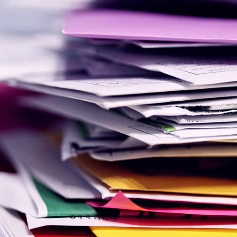 stack of colorful papers