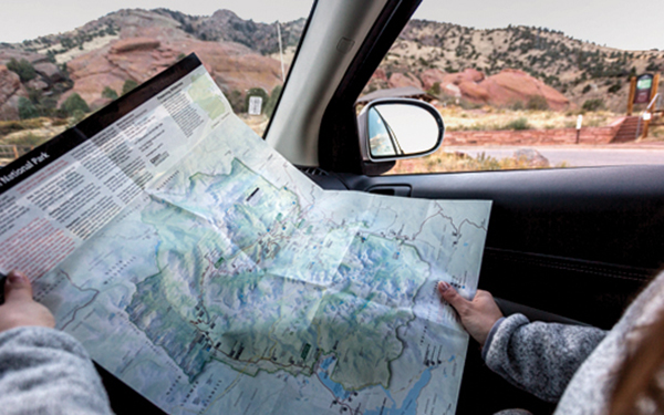 paper map of rocky mountain national park