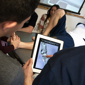 students examining foot on tablet