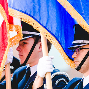 ROTC students holding flags