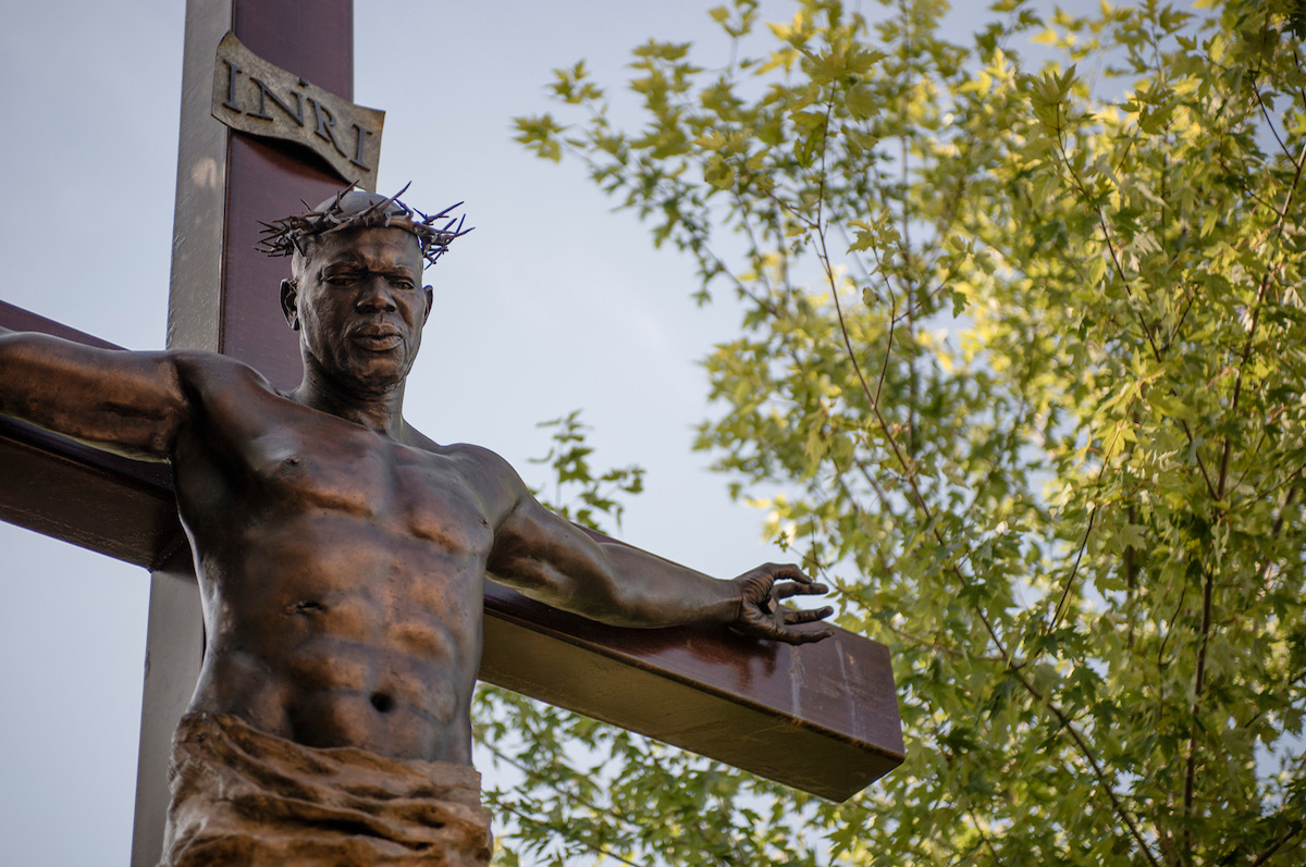 Jan Van Ek-Fedde's Crucifix, located in the meditation garden of the St. John Francis Regis Chapel