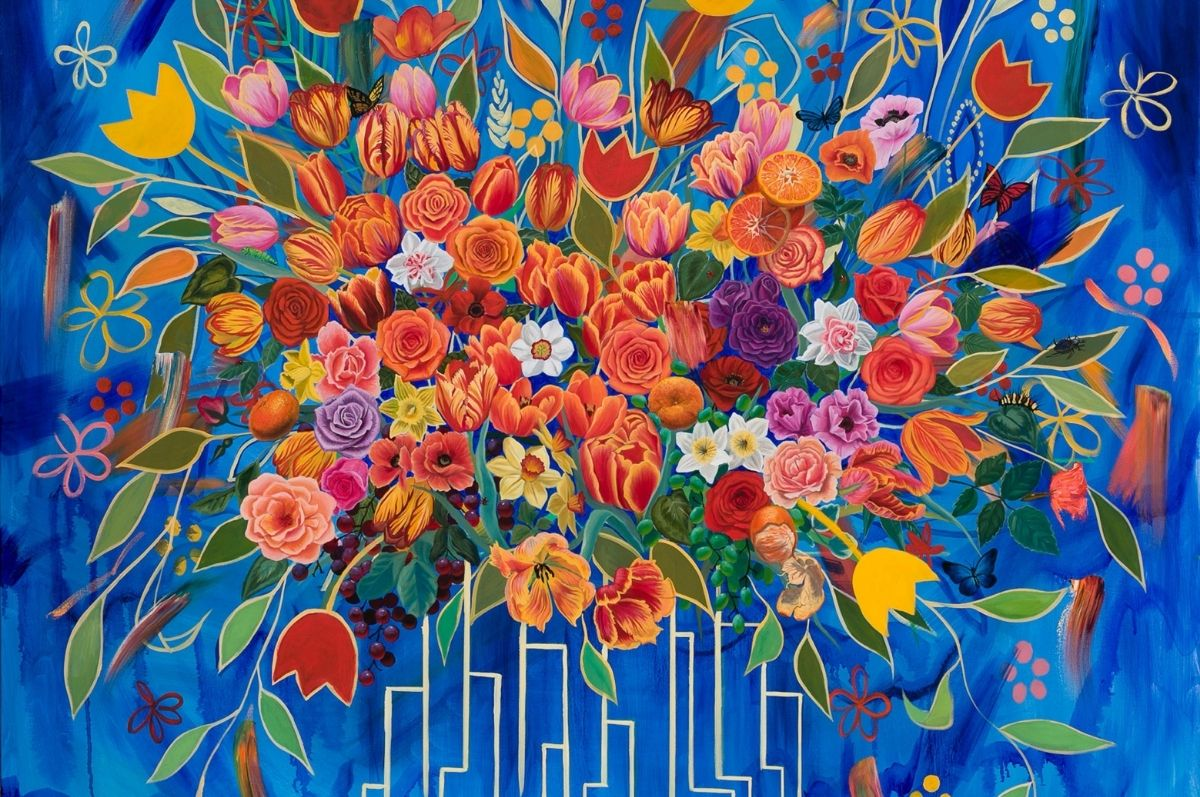 photo of painting with flowers