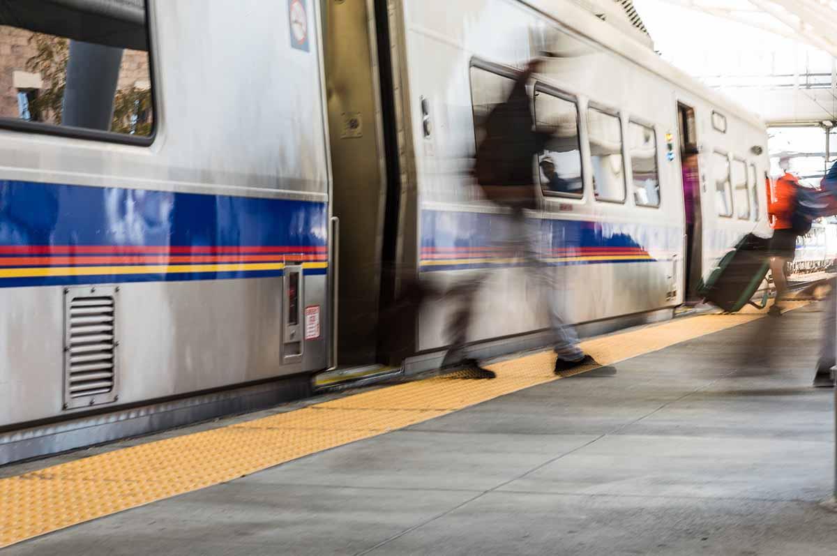 People exiting Denver public transportation